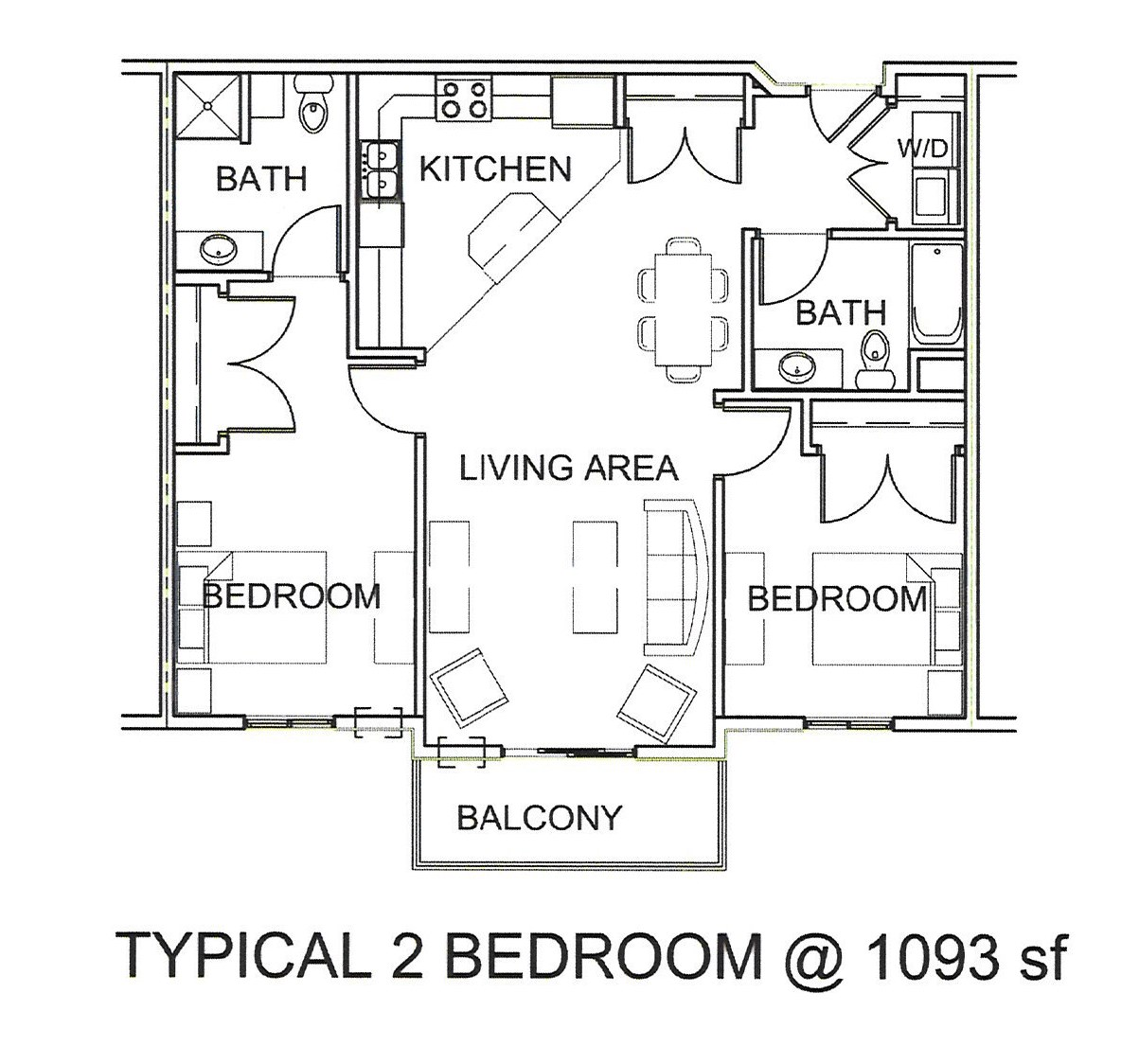 2-Bedroom-floor-plan-1093-SF  Fuqua Homes Floor Plans on